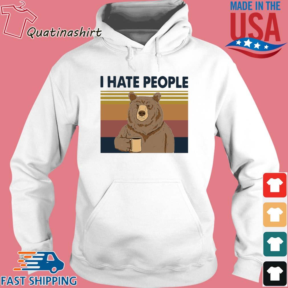 Bear drink coffee I hate people vintage s Hoodie trang