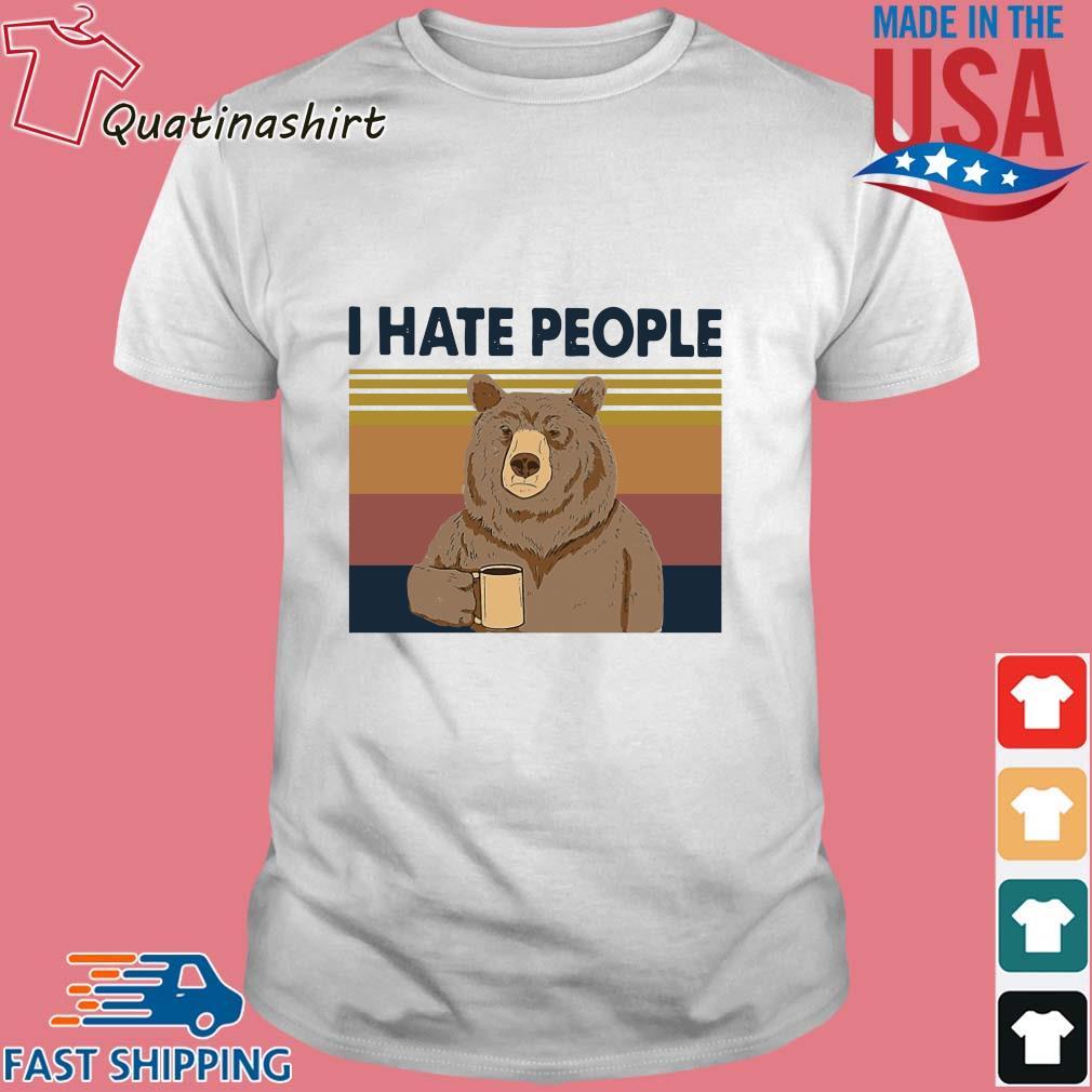 Bear drink coffee I hate people vintage shirt