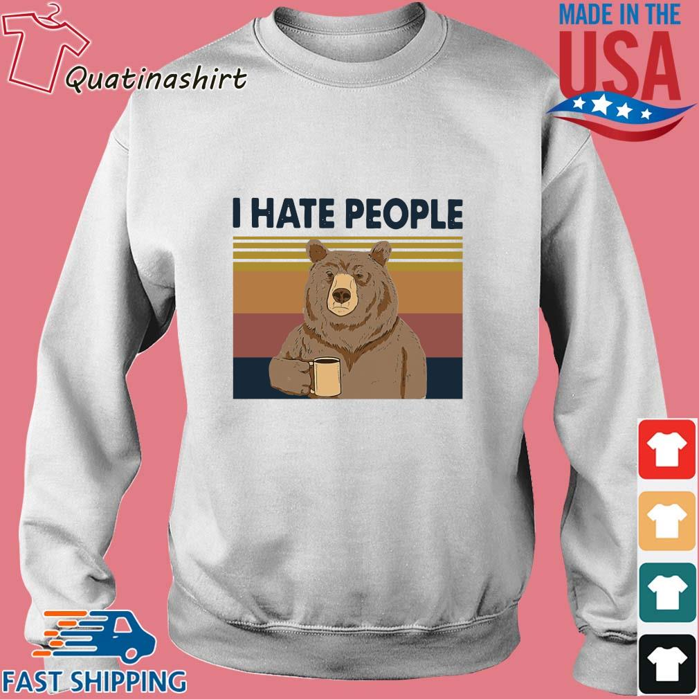 Bear drink coffee I hate people vintage s Sweater trang