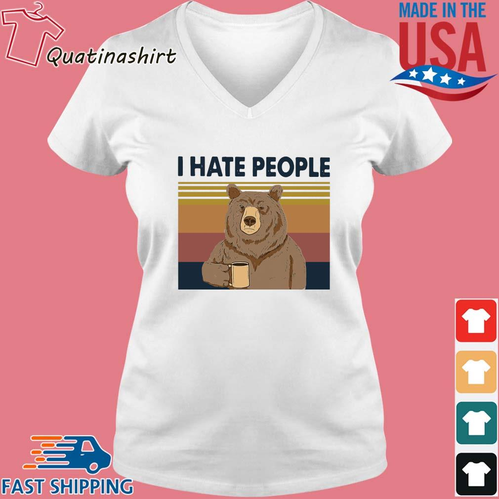 Bear drink coffee I hate people vintage s Vneck trang