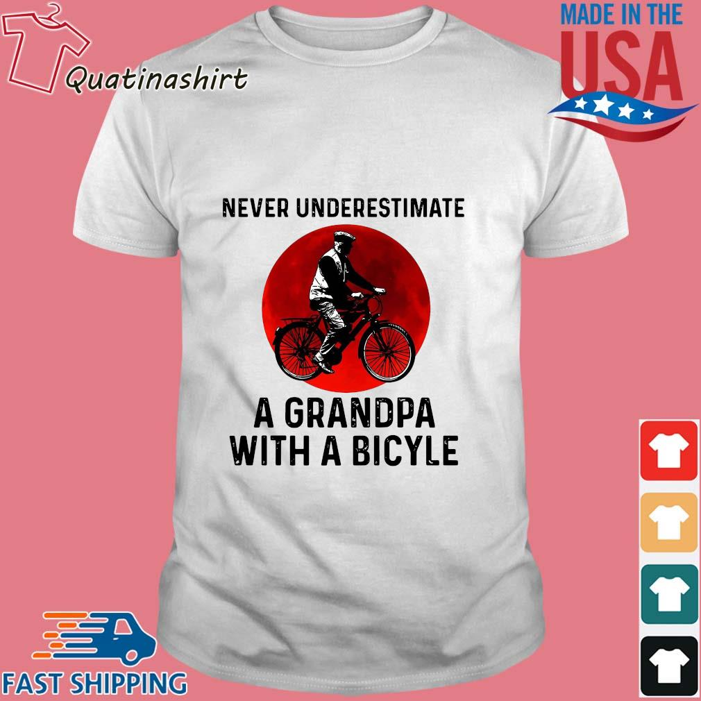 Never underestimate a grandpa with a bicycle sunset shirt