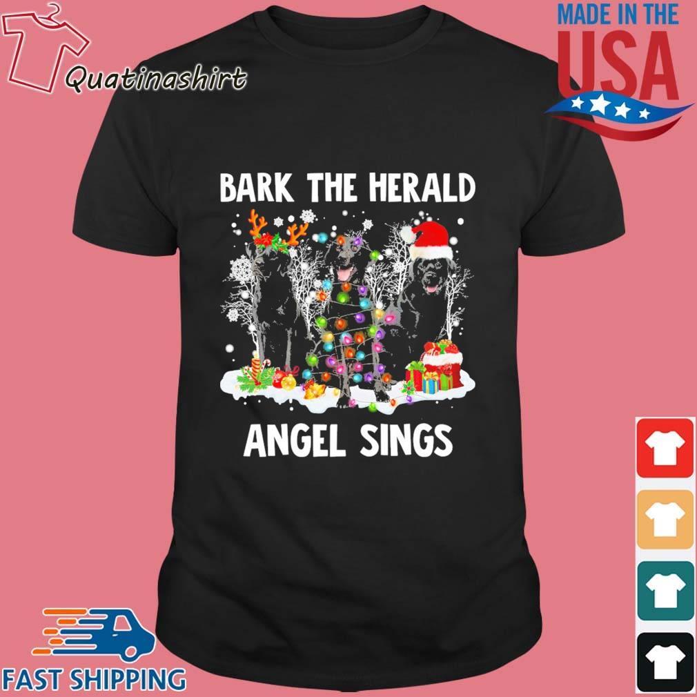 Black Labrador Retriever bark the herald Angel sings Merry Christmas shirt