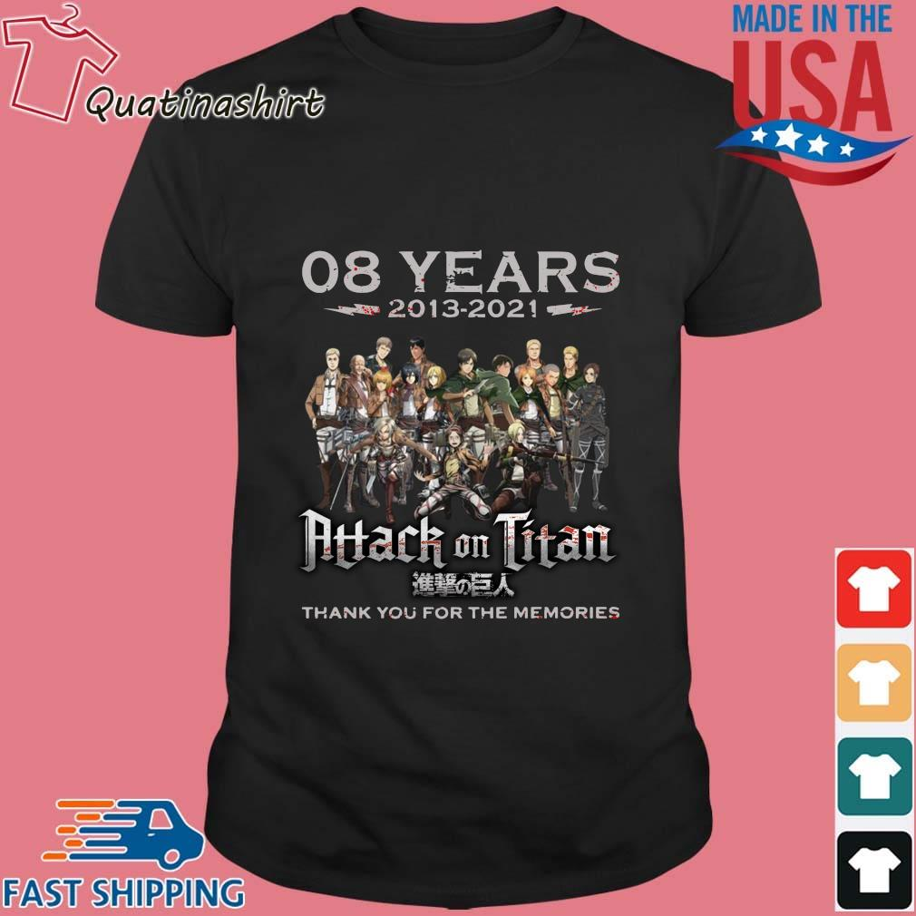 08 years 2013-2021 Attack On Titan thank you for the memories signatures shirt