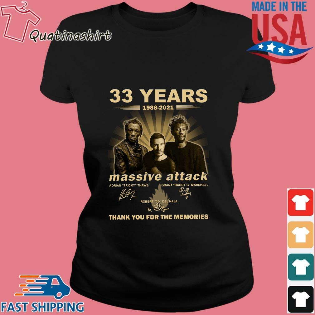 33 Years 1988 2021 Massive Attack Signatures Thank You For The Memories Shirt Ladies den