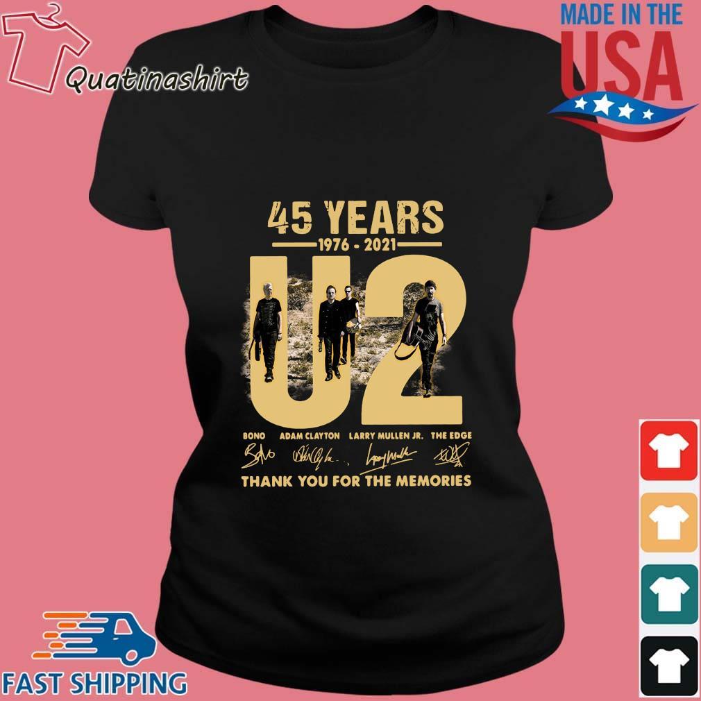 45 Years 1976-2021 U2 Bono Adam Clayton Thank You Signatures Shirt Ladies den