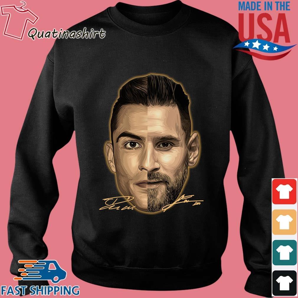 Cristiano Ronaldo And Lionel Messi Face Signatures Shirt Sweater den