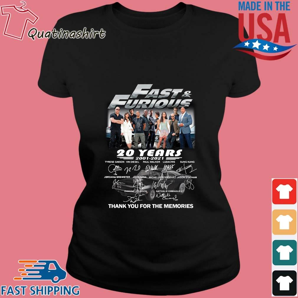 Fast And Furious 20 Years 2001 2021 Thank You For The Memories Signatures Shirt Ladies den