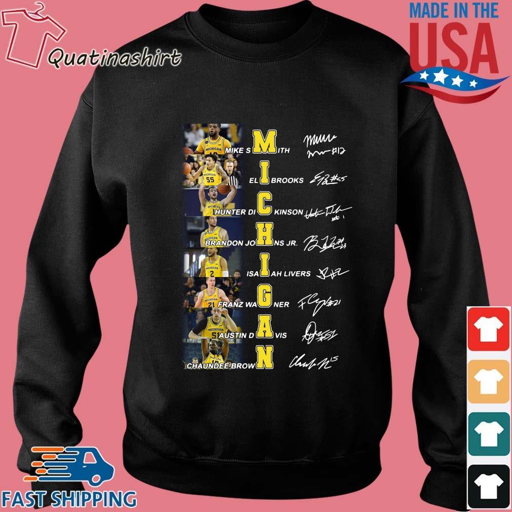 Michigan Wolverines Mike Smith Elibrooks Hunter Dickinson Signatures Shirt Sweater den