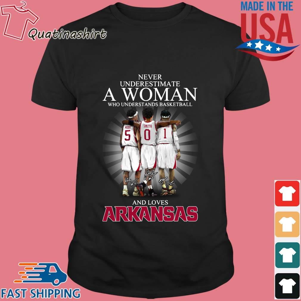Never Underestimate A Woman Who Understands Basketball And Loves Arkansas Razorbacks Shirt
