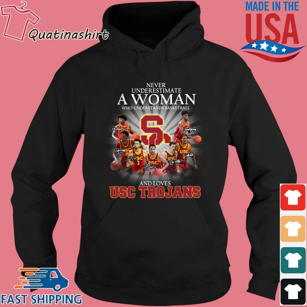 Never Underestimate A Woman Who Understands Basketball And Loves Usc Trojans Signatures Shirt Hoodie den