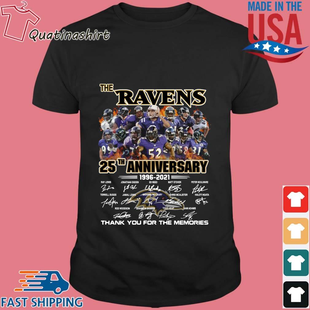 The Baltimore Ravens 25th Anniversary 1996-2021 Signatures Thank You Shirt