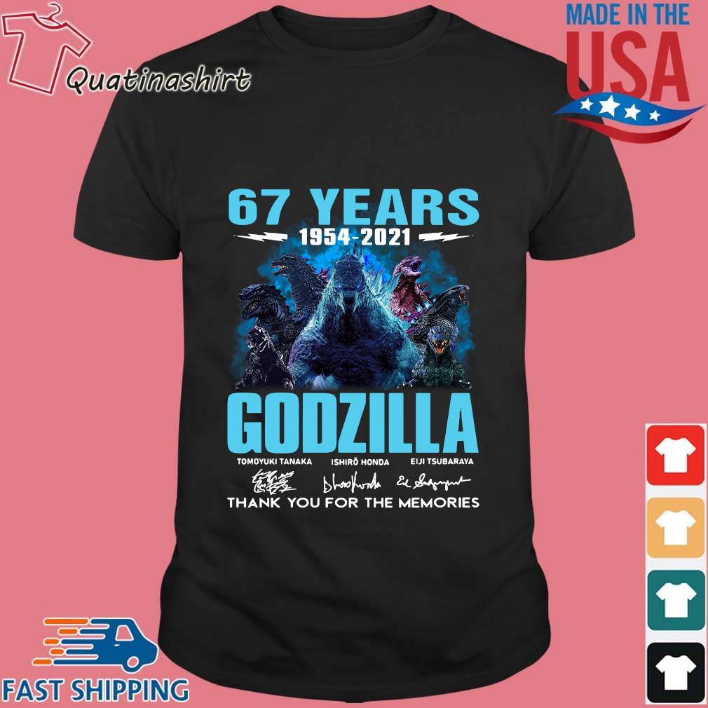 67 years 1954-2021 Godzilla thank you for the memories signatures shirt