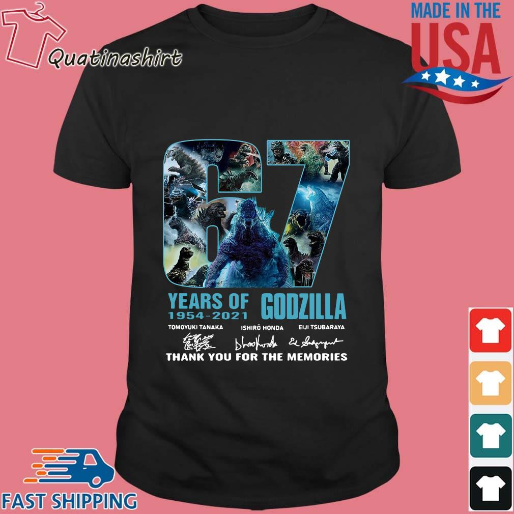 Godzilla 67 years of 1954-2021 thank you for the memories signatures shirt