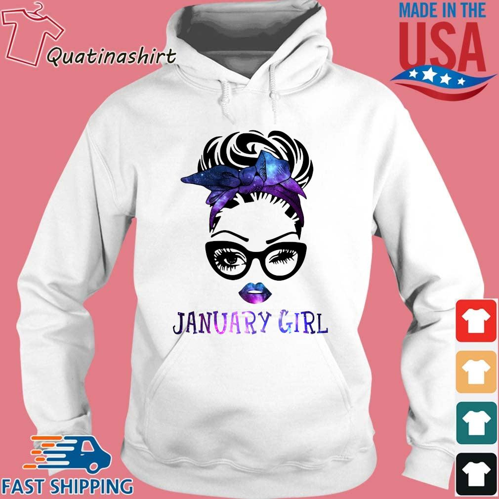 January Girl Face Wink Eye Hair Bandana Glasses Shirt Hoodie trang