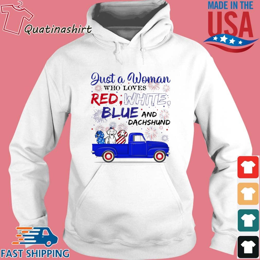 Just A Woman Who Loves Red White Blue And Dachshund s Hoodie trang