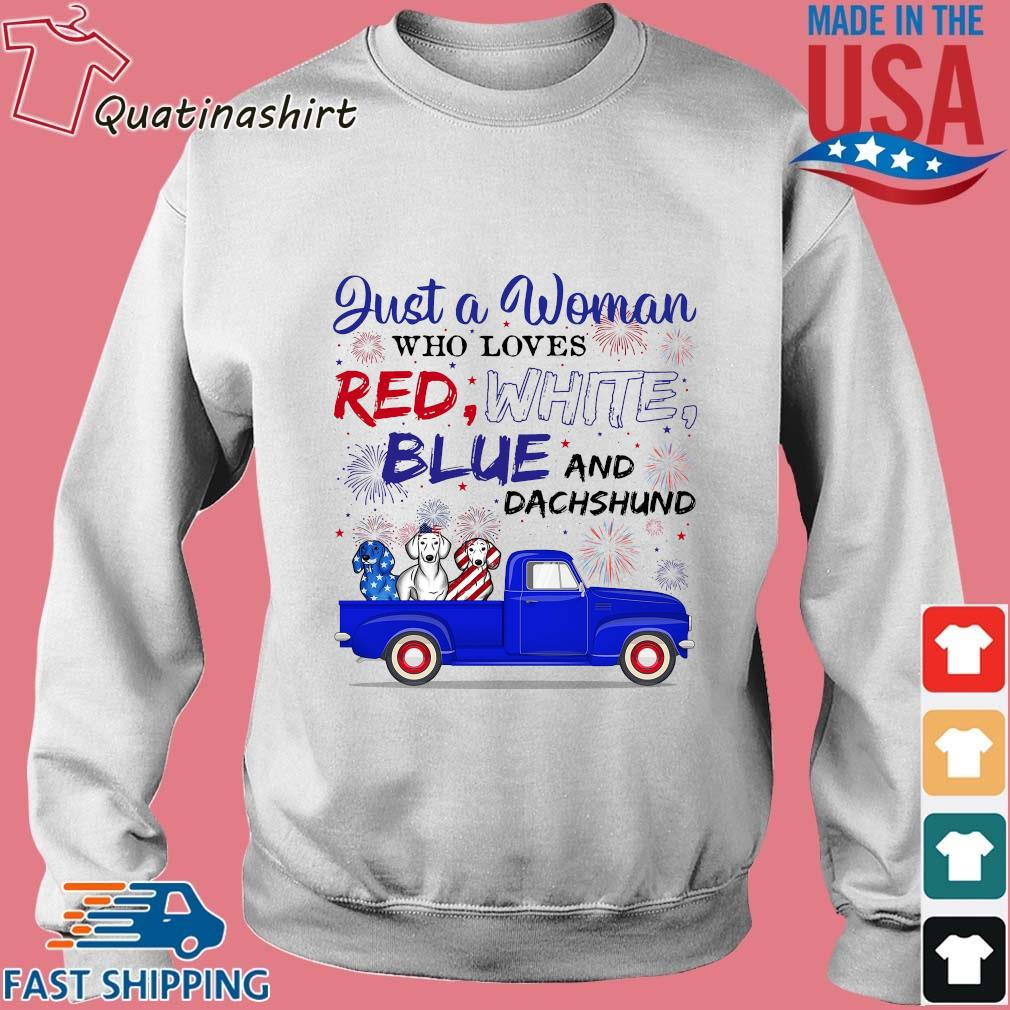 Just A Woman Who Loves Red White Blue And Dachshund s Sweater trang
