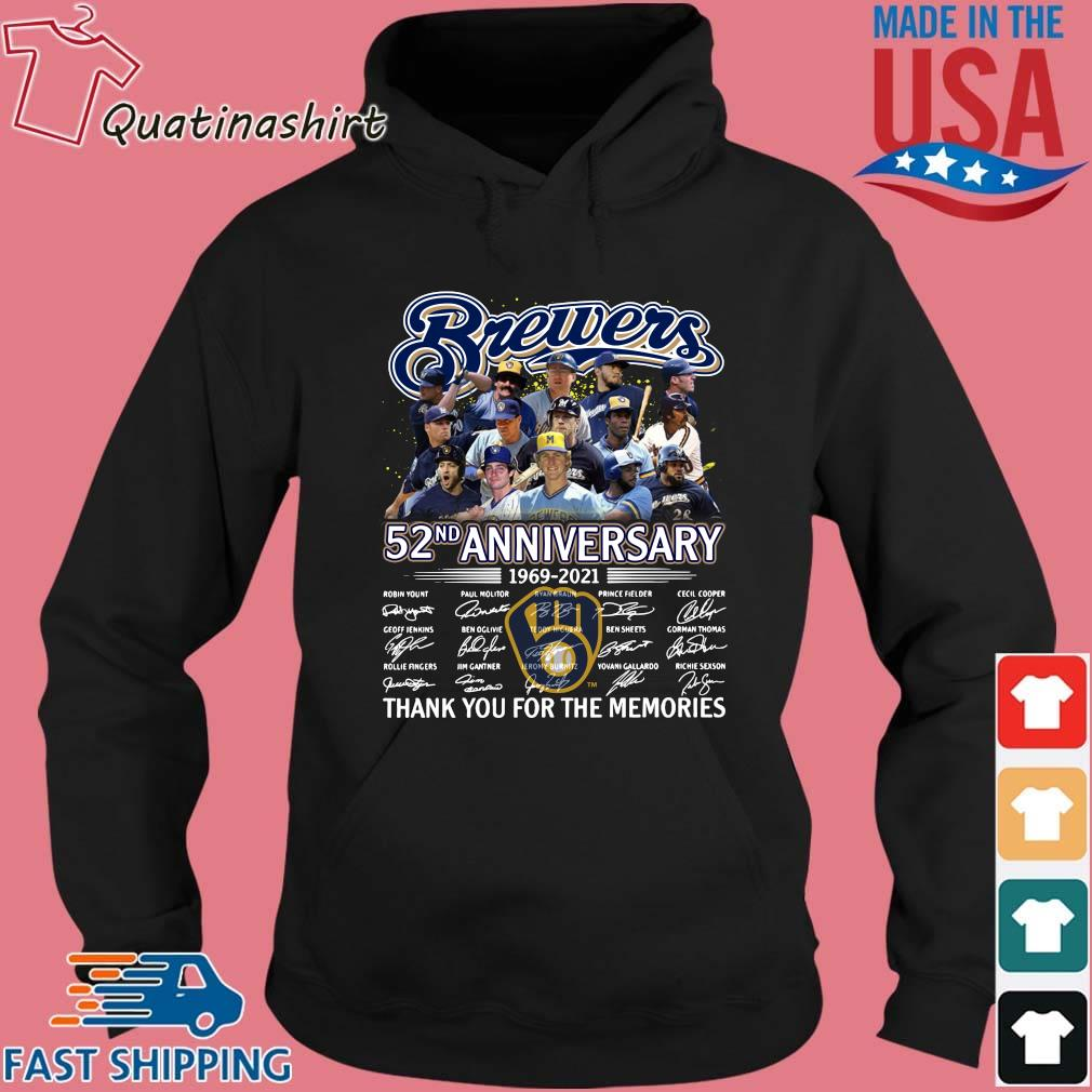 Milwaukee Brewers 52nd anniversary thank you for the memories signatures s Hoodie den
