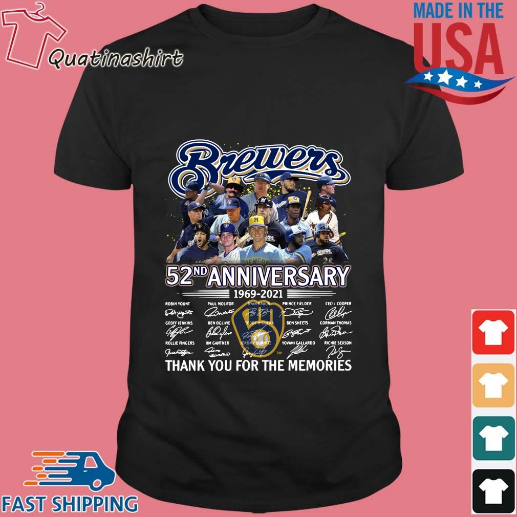 Milwaukee Brewers 52nd anniversary thank you for the memories signatures shirt