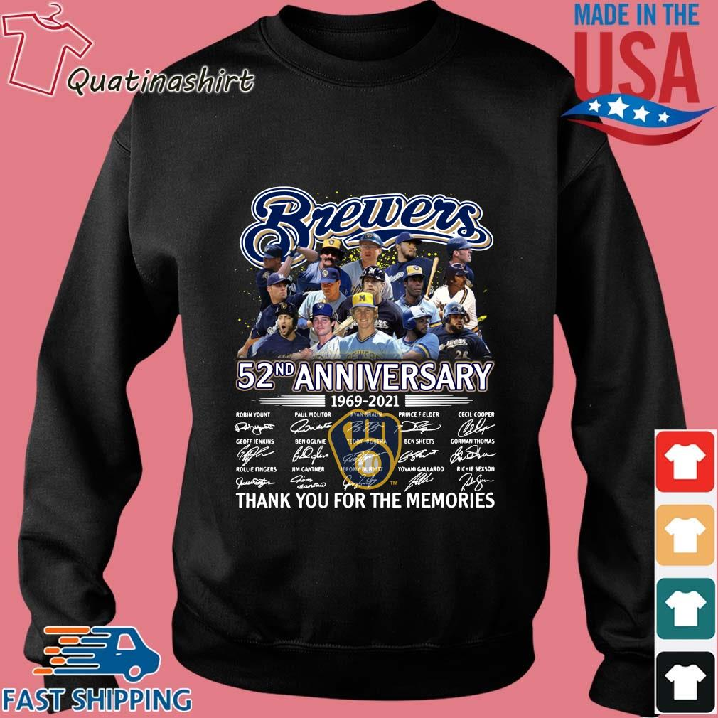 Milwaukee Brewers 52nd anniversary thank you for the memories signatures s Sweater den