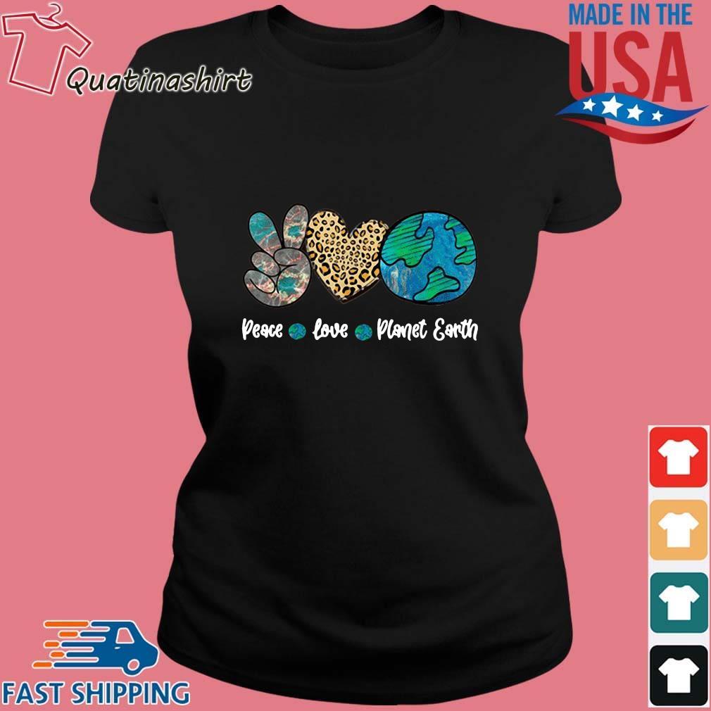 Peace Love Leopard Earth Day Shirt Ladies den