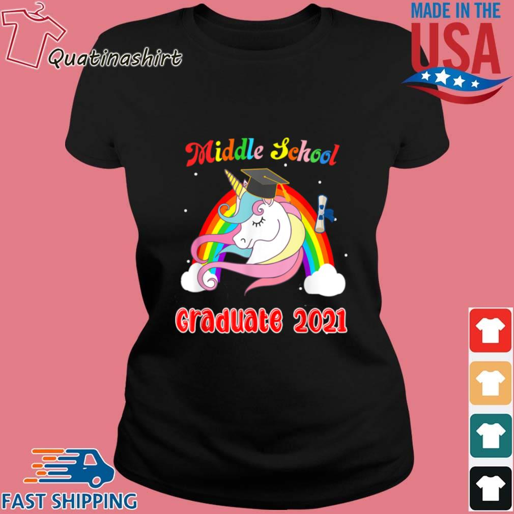 Unicorn Middle School Graduate 2021 Rainbow Shirt Ladies den